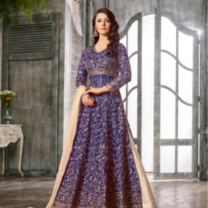 Blue Anarkali Style Lehenga