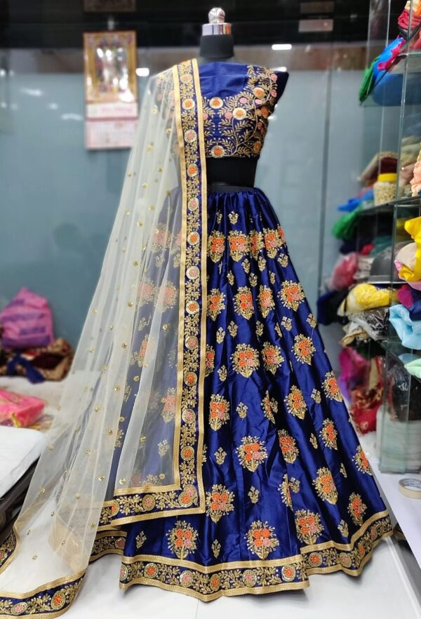 Blue Floral Lehenga