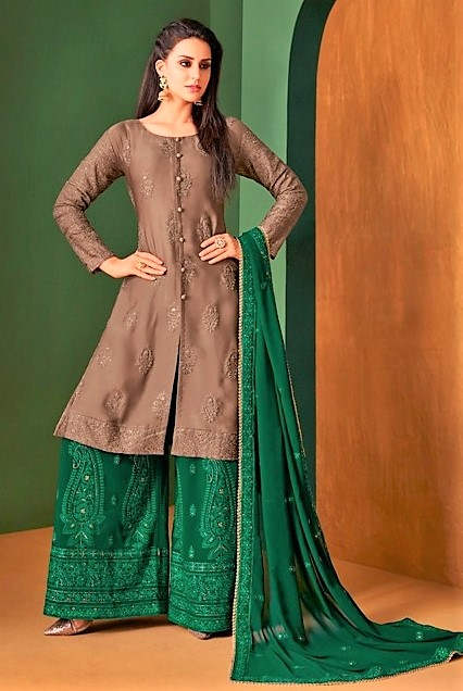Brown and Green Sharara Suits