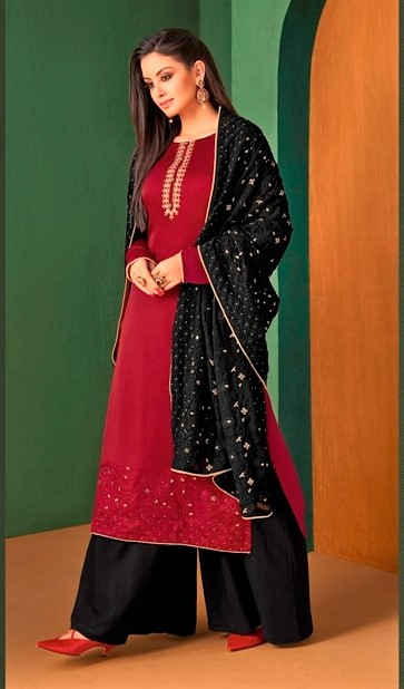 Burgundy and Black Sharara Suit