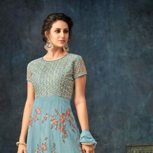 Grey Blue Anarkali Suit