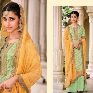 Mint green and Yellow Sharara Suit
