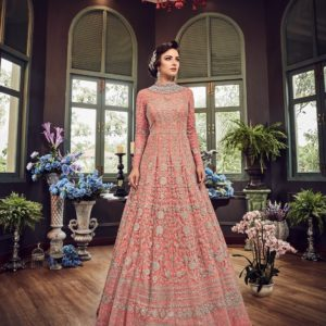 Pink Net Heavy Anarkali Suit