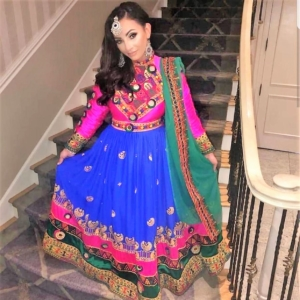 Pink and Blue traditional Afghani Dress