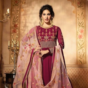 Reddish Pink Anarkali Suit