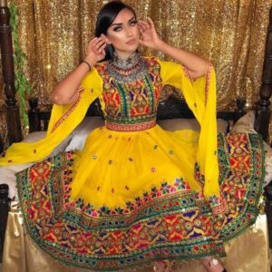 Yellow Afghani traditional Dress